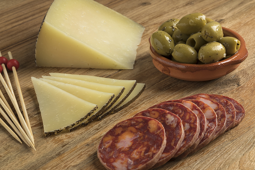 Spanish Manchego cheese, Chorizo sausage and olives
